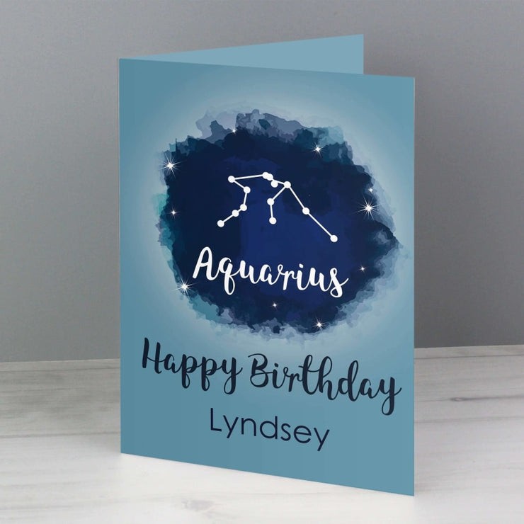 Personalised Aquarius Zodiac Star Sign Card (January 20th - February 18th)-Personalised Cards-Give Personalised Gifts