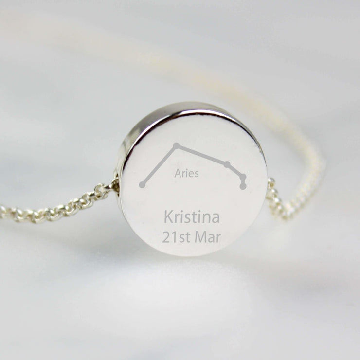 Personalised Aries Zodiac Star Sign Silver Tone Necklace (March 21st-April 19th)-Jewellery-Give Personalised Gifts