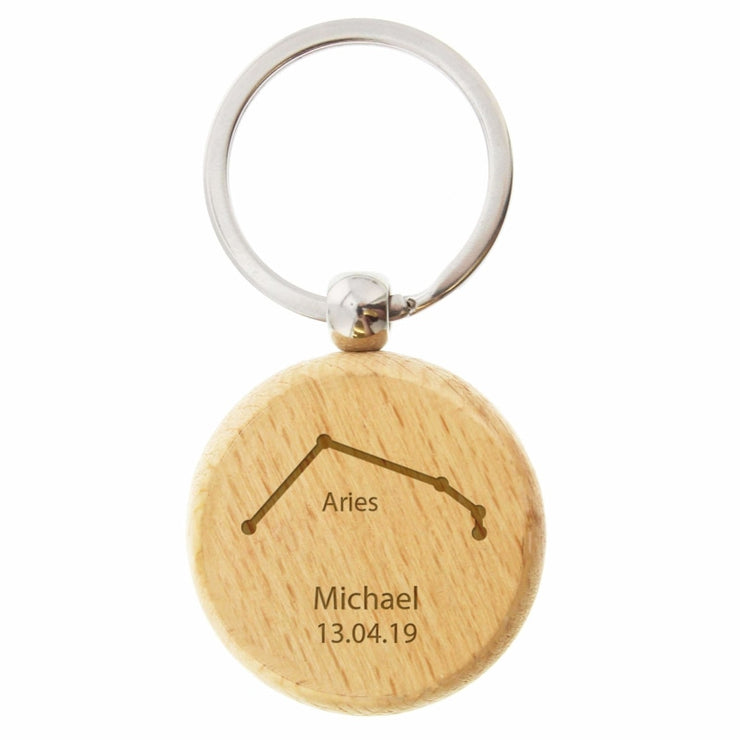 Personalised Aries Zodiac Star Sign Wooden Keyring (March 21st-April 19th)-Keyring-Give Personalised Gifts