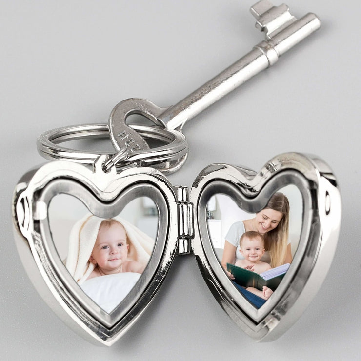 Personalised Arrow Heart Photoframe Keyring-Keyring-Give Personalised Gifts