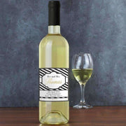 Personalised Art Deco Striped White Wine-Wine-Give Personalised Gifts