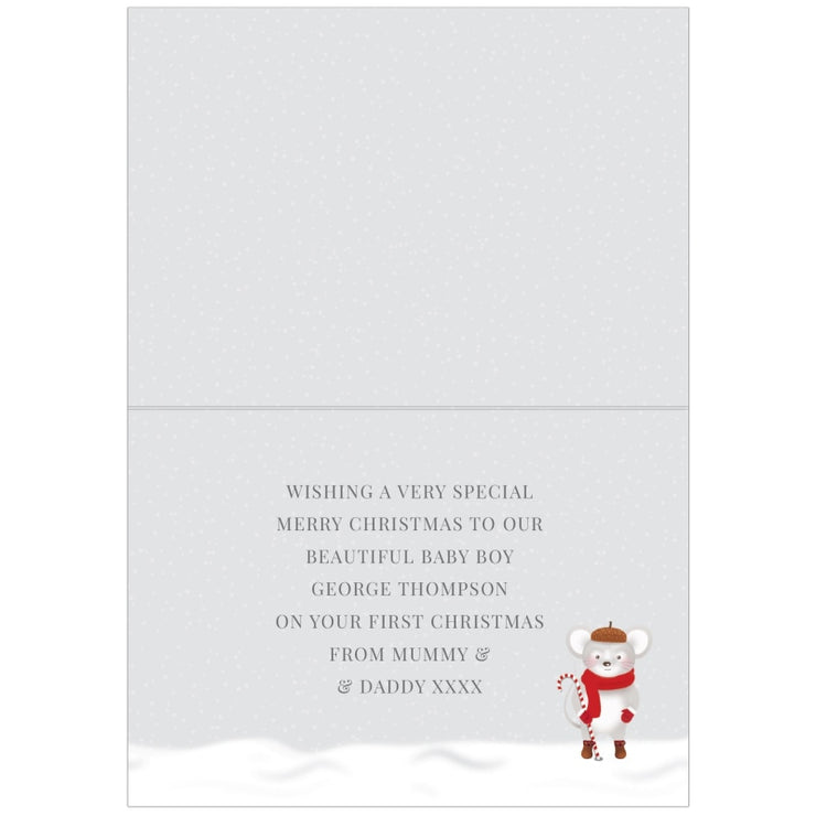 Personalised Baby 1st Christmas Mouse Card-Personalised Cards-Give Personalised Gifts