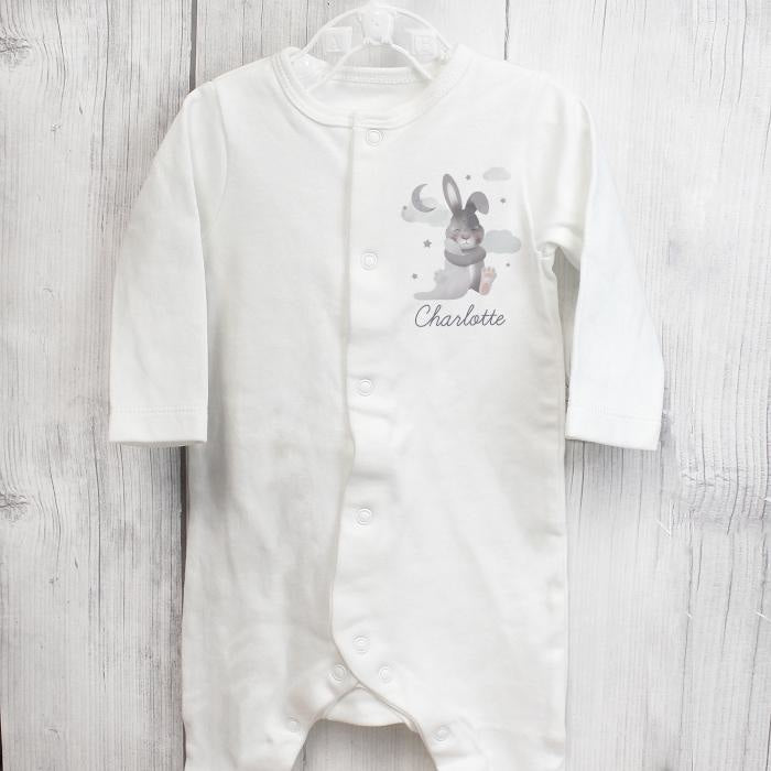 Personalised Baby Bunny Babygrow 3-6 months-Baby Clothing-Give Personalised Gifts