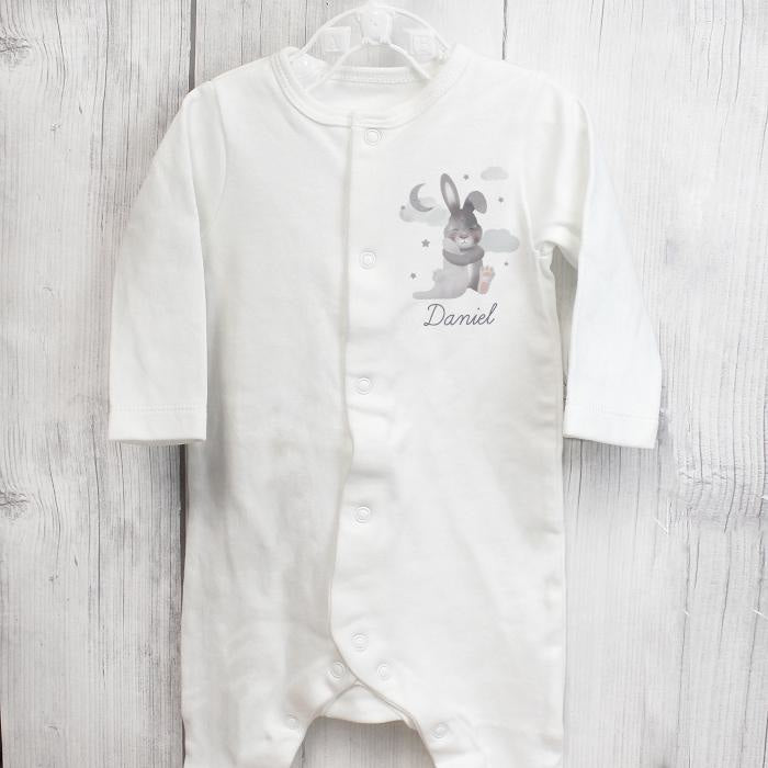 Personalised Baby Bunny Babygrow 9-12 months-Baby Clothing-Give Personalised Gifts