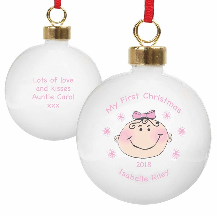 Personalised Baby Girl My First Christmas Bauble-Bauble-Give Personalised Gifts