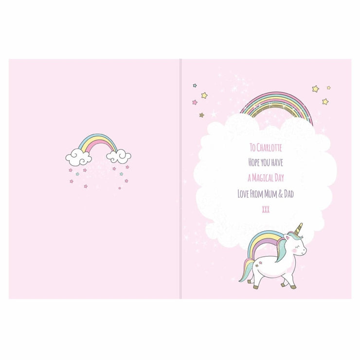 Personalised Baby Unicorn Birthday Age Card-Personalised Cards-Give Personalised Gifts