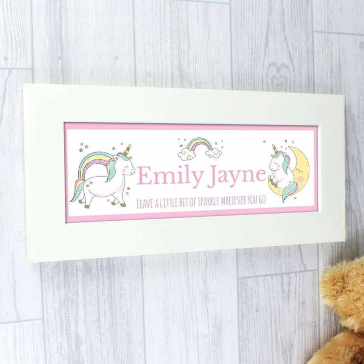 Personalised Baby Unicorn Name Frame-Framed Print-Give Personalised Gifts