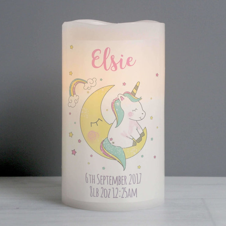 Personalised Baby Unicorn Nightlight LED Candle-Candles & Holder-Give Personalised Gifts