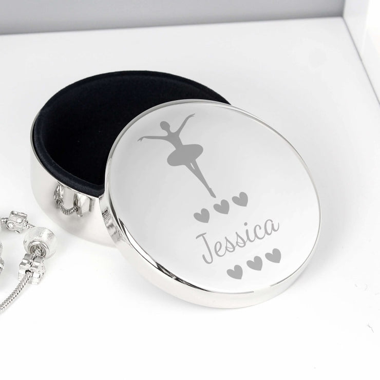 Personalised Ballerina Round Trinket Box-Trinket Box-Give Personalised Gifts