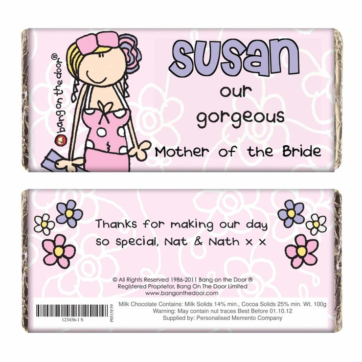 Personalised Bang on the Door Wedding Female Milk Chocolate Bar-Chocolate Bar-Give Personalised Gifts