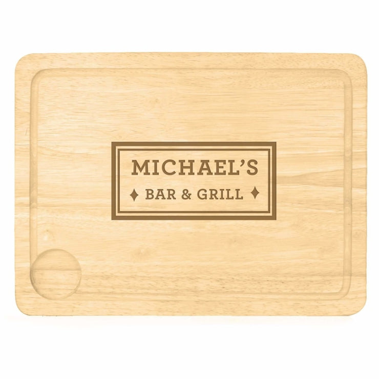 Personalised Bar & Grill Carving Board-Kitchen Accessories-Give Personalised Gifts