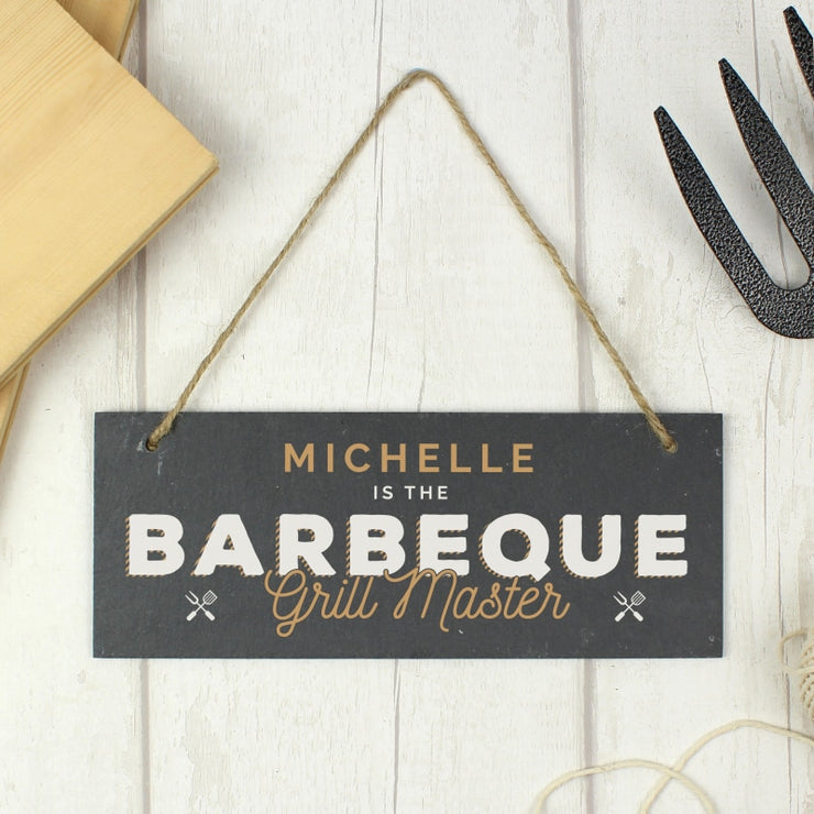 "Personalised ""Barbeque Grill Master"" Printed Hanging Slate Plaque-Canvases & Plaques-Give Personalised Gifts"
