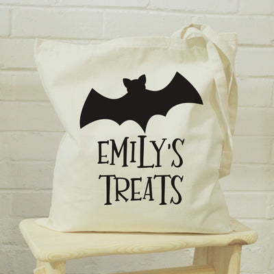 Personalised Bat Halloween Treats Tote Bag-Cotton Bag-Give Personalised Gifts