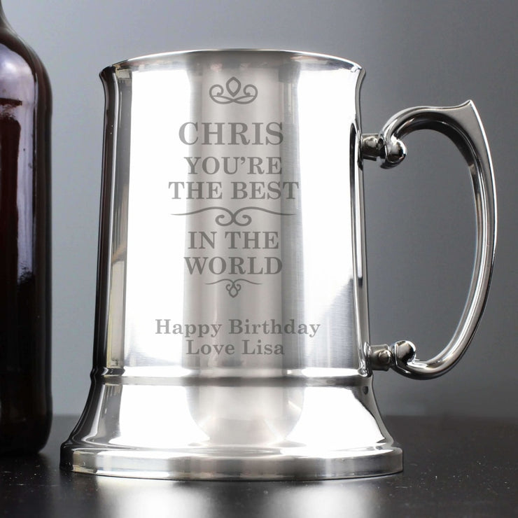 Personalised Best in the World Stainless Steel Tankard-Tankard-Give Personalised Gifts