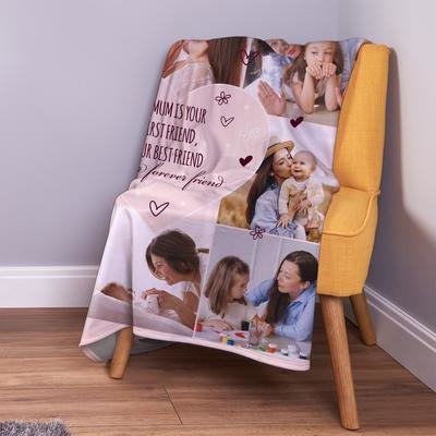 Personalised Best Mum - Peach 8 Photo Collage Fleece Throw Blanket-Blanket-Give Personalised Gifts