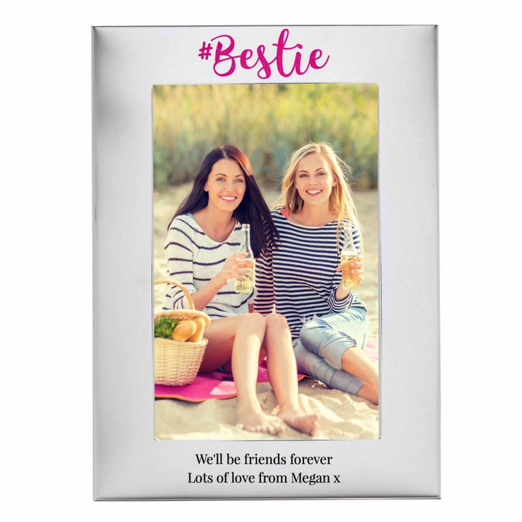Personalised #Bestie 4x6 Silver Photo Frame-Photo Frame-Give Personalised Gifts