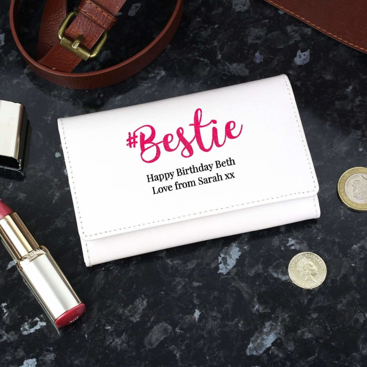 Personalised #Bestie Cream Purse-Purse-Give Personalised Gifts