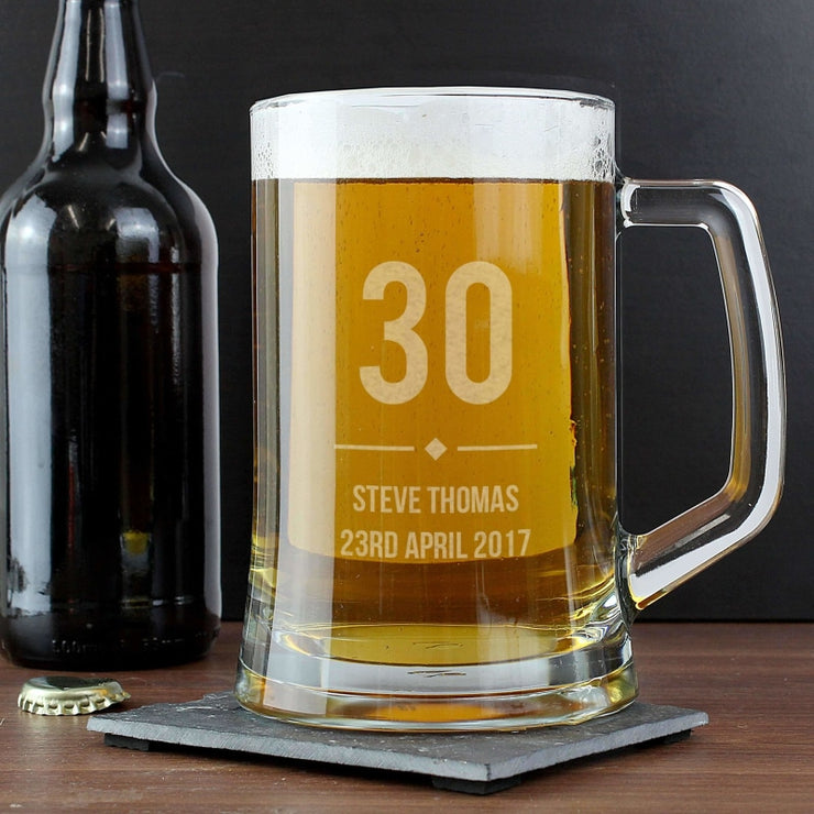 Personalised Big Age Glass Pint Stern Tankard-Tankard-Give Personalised Gifts