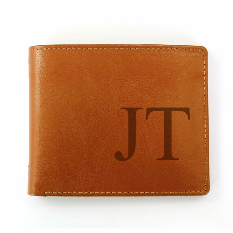 Personalised Big Initials Tan Leather Wallet-Wallet-Give Personalised Gifts