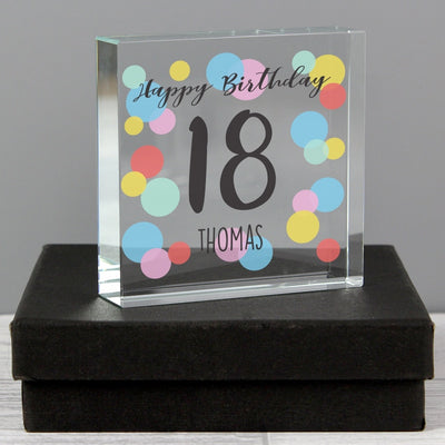 Personalised Birthday Colour Confetti Large Crystal Token-Crystal Token-Give Personalised Gifts