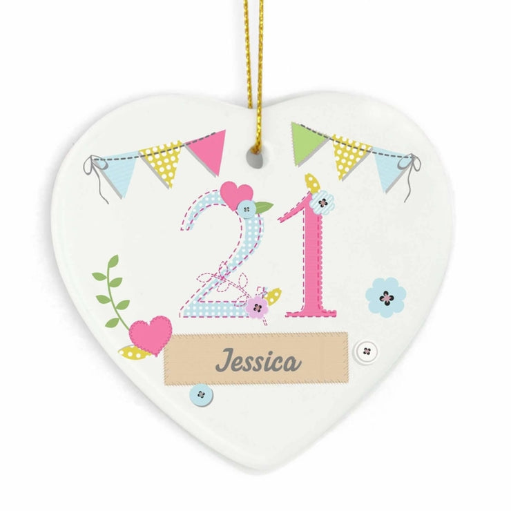 Personalised Birthday Craft Ceramic Heart-Hanging Decoration-Give Personalised Gifts