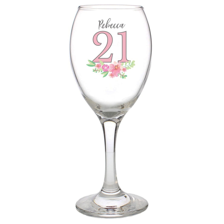 Personalised Birthday Floral Wine Glass-Glassware-Give Personalised Gifts