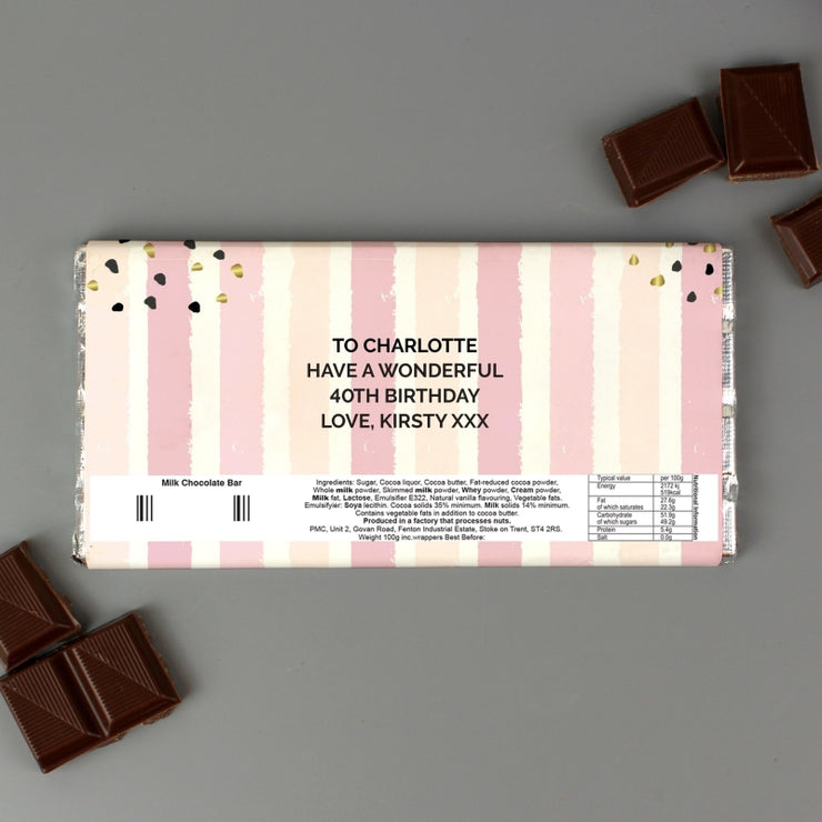 Personalised Birthday Gold and Pink Stripe Milk Chocolate Bar-Chocolate Bar-Give Personalised Gifts