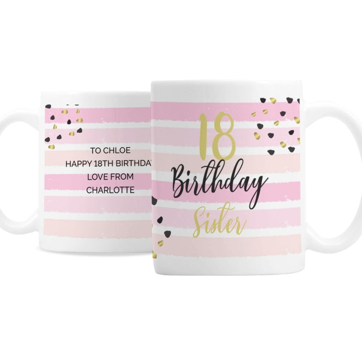 Personalised Birthday Gold and Pink Stripe Mug-Mugs-Give Personalised Gifts