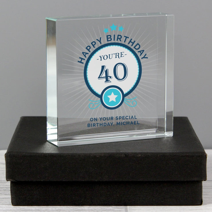 Personalised Birthday Large Crystal Token-Crystal Token-Give Personalised Gifts