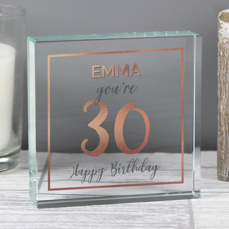 Personalised Birthday Rose Gold Crystal Token-Crystal Token-Give Personalised Gifts
