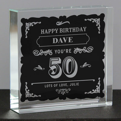 Personalised Birthday Vintage Typography Large Crystal Token-Crystal Token-Give Personalised Gifts