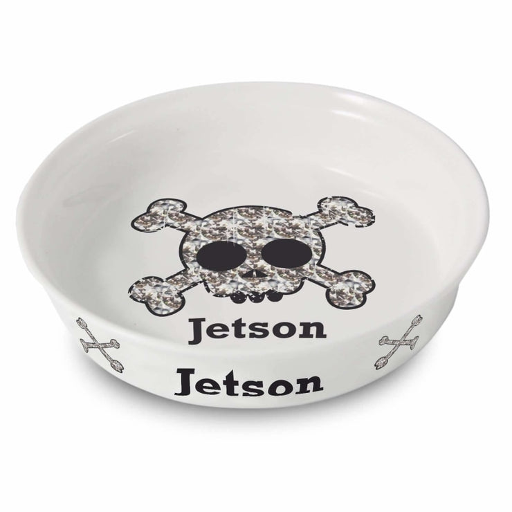 Personalised Bling Skull Dog Bowl-Pet Accessories-Give Personalised Gifts