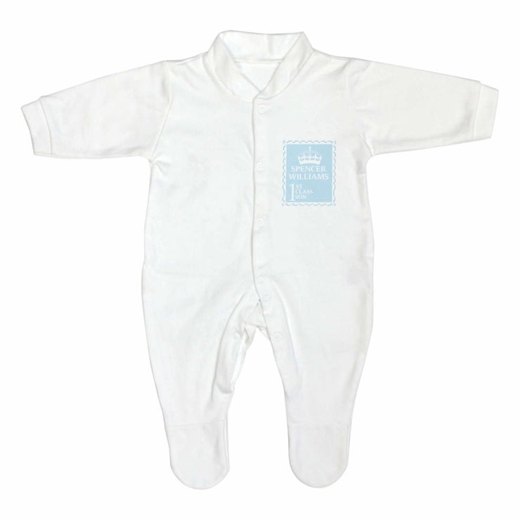 Personalised Blue 1st Class 9-12 Months Babygrow-Baby Clothing-Give Personalised Gifts