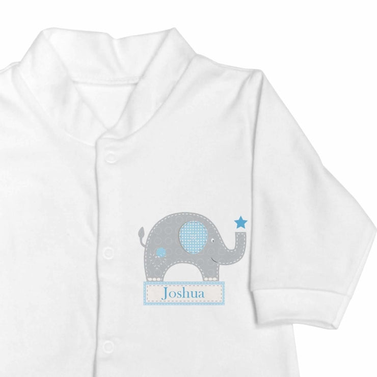 Personalised Blue Elephant 0-3 Months Babygrow-Baby Clothing-Give Personalised Gifts
