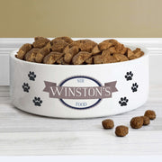 Personalised Blue Paws 14cm Medium White Pet Bowl-Pet Accessories-Give Personalised Gifts