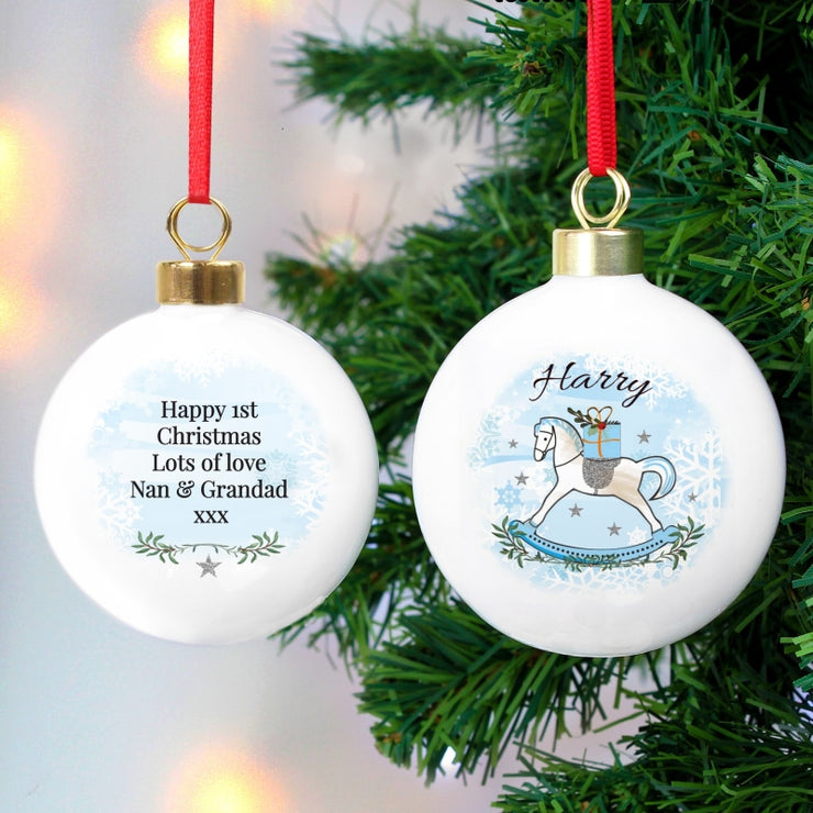 Personalised Blue Rocking Horse Bauble For Boys-Bauble-Give Personalised Gifts