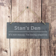 Personalised Bold Design Hanging Slate Plaque-Canvases & Plaques-Give Personalised Gifts