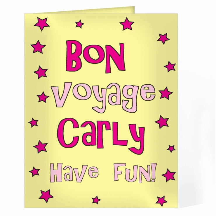 Personalised Bon Voyage Pink Star Card-Personalised Cards-Give Personalised Gifts