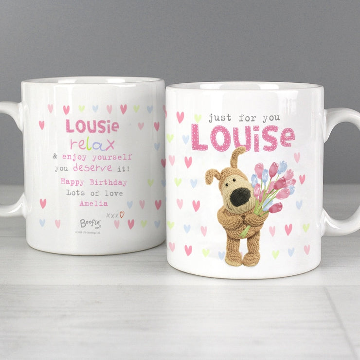Personalised Boofle Birthday Flowers Mug-Mugs-Give Personalised Gifts