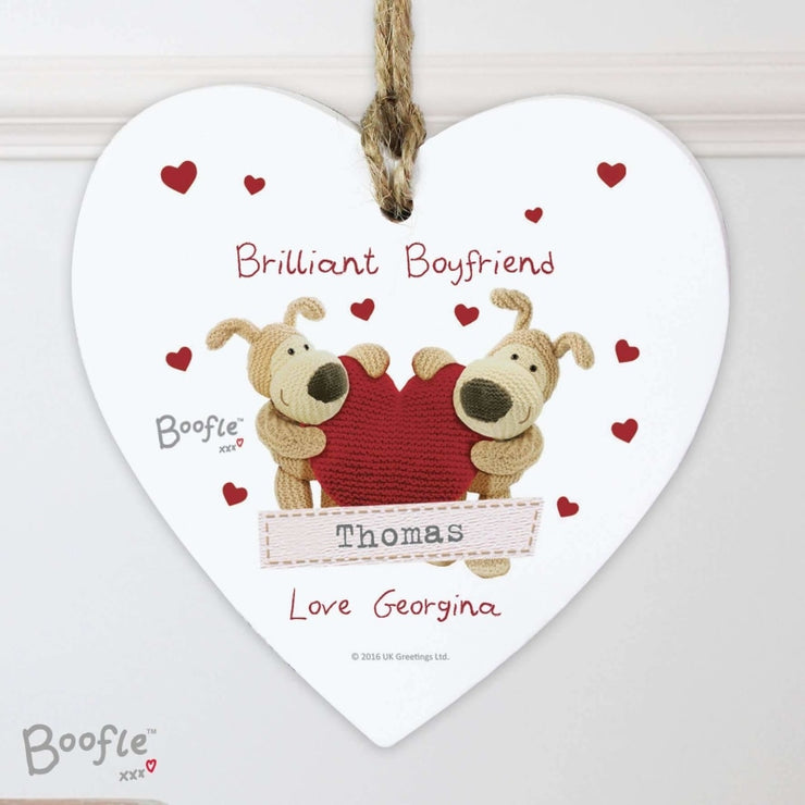 Personalised Boofle Shared Heart Wooden Heart Decoration-Hanging Decoration-Give Personalised Gifts