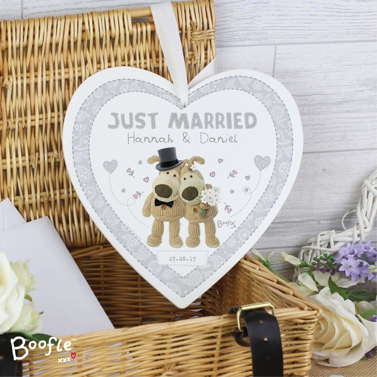 Personalised Boofle Wedding 22cm Large Wooden Heart Decoration-Hanging Decoration-Give Personalised Gifts