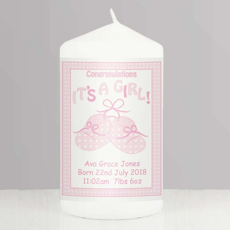 Personalised Bootee It's a Girl Candle-Candles & Holder-Give Personalised Gifts