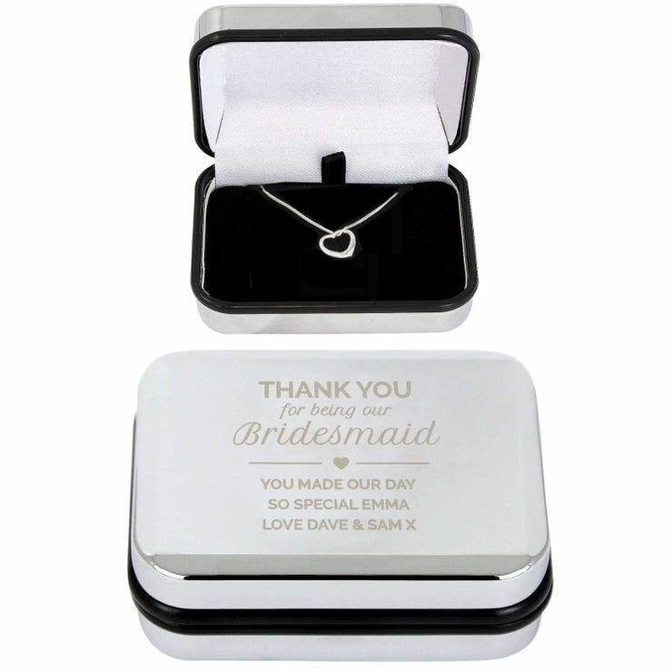 Personalised Bridesmaid Box and Heart Necklace-Jewellery-Give Personalised Gifts