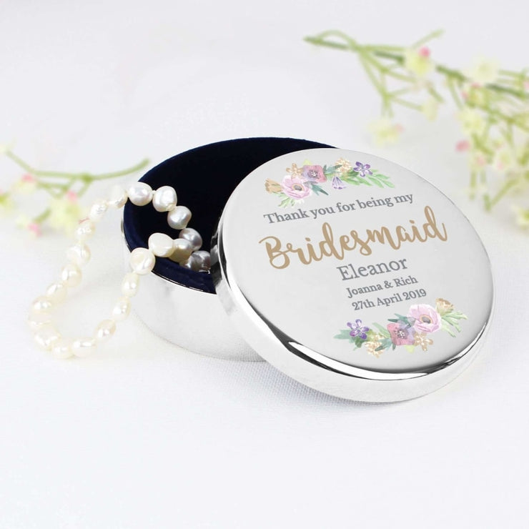 Personalised Bridesmaid 'Floral Watercolour Wedding' Round Trinket Box-Trinket Box-Give Personalised Gifts