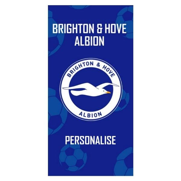 Personalised Brighton & Hove Albion FC Crest Design Towel - Large-Towel-Give Personalised Gifts