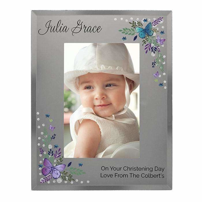 Personalised Butterfly 4x6 Diamante Glass Photo Frame-Photo Frame-Give Personalised Gifts