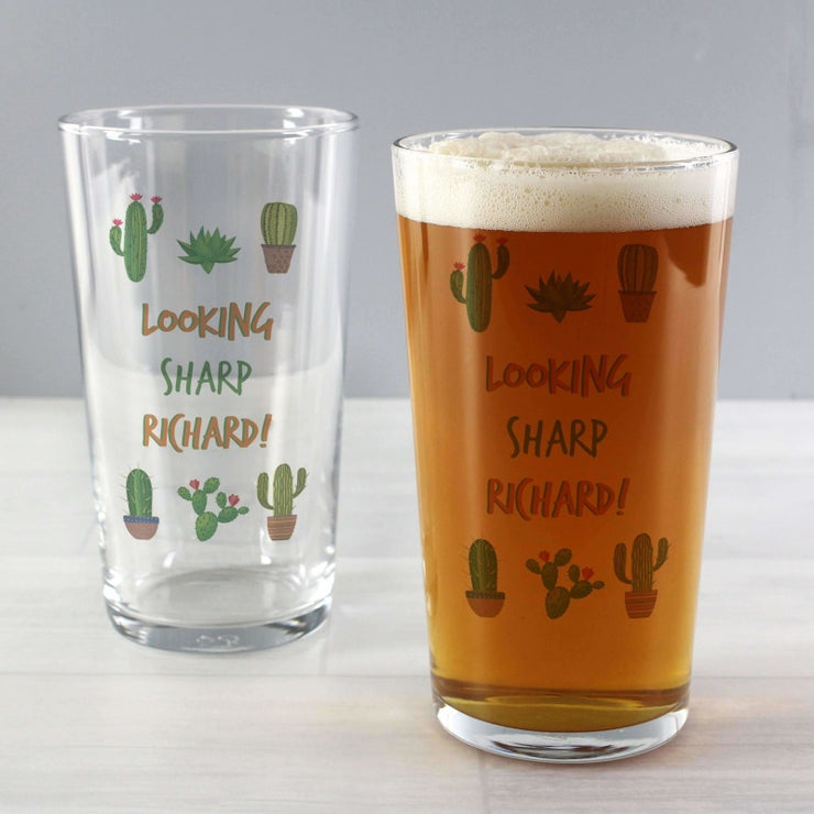 Personalised Cactus Pint Glass-Glassware-Give Personalised Gifts