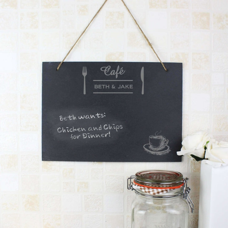 Personalised Cafe Large Hanging Slate Sign-Signs-Give Personalised Gifts