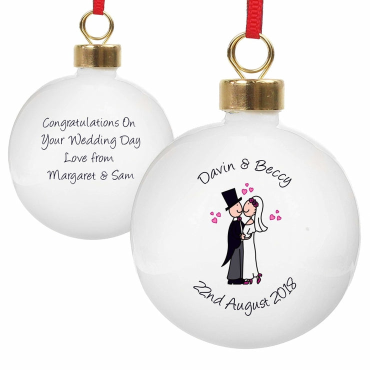 Personalised Cartoon Couple Keepsake Bauble-Bauble-Give Personalised Gifts
