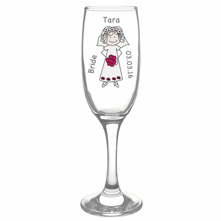 Personalised Cartoon Wedding Flute Glass-Flute-Give Personalised Gifts